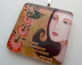 SALE 28% OFF --- Sing glass pendant by mixed media artist Paulette Insall