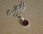 glitter dot necklace, violet red