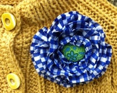 Fabric Flower Pinback Brooch