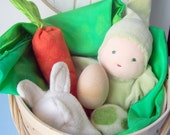 Natural Baby and Toddler Easter Basket, Waldorf Inspired (sage doll)