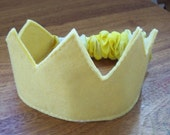 Golden Wool Felt and Hand Dyed Silk Birthday or Dress Up Crown
