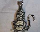 Here Kitty Kitty cloth art doll form w/cat brooch  9in U Bead It Goddess