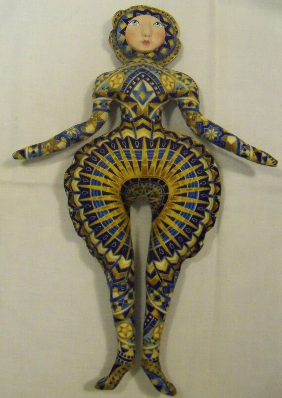 SALE Mother Starlite Goddess Blue-Gold cloth art doll form w/face cab 12in tall U Bead It