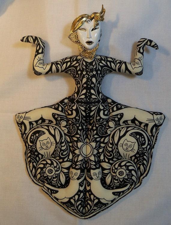 CAT Goddess cloth art doll form w/face brooch  11 by 9in U Bead It