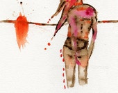"""Original Abstract Watercolor Painting of  Female Nude Figure by Christina Romeo  TITLE:  """"Foward"""""""