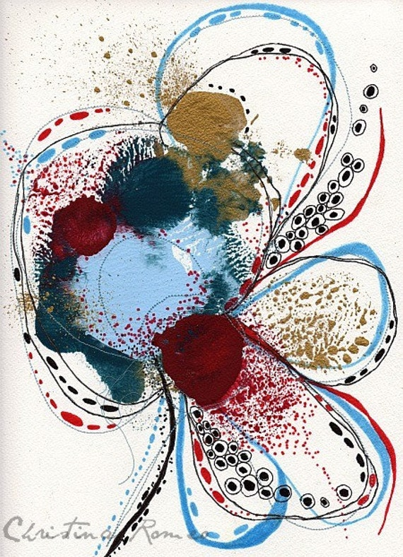 """Original Abstract Botanical Painting with Embroidery 9 x 12....""""N99"""""""
