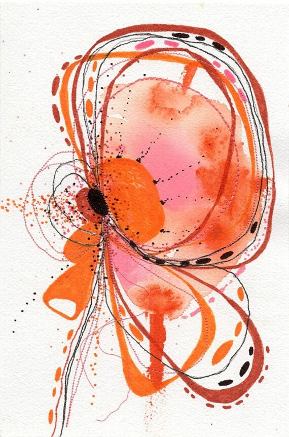 """Original Abstract Botanical Painting with Embroidery 6 x 9...""""P7"""""""