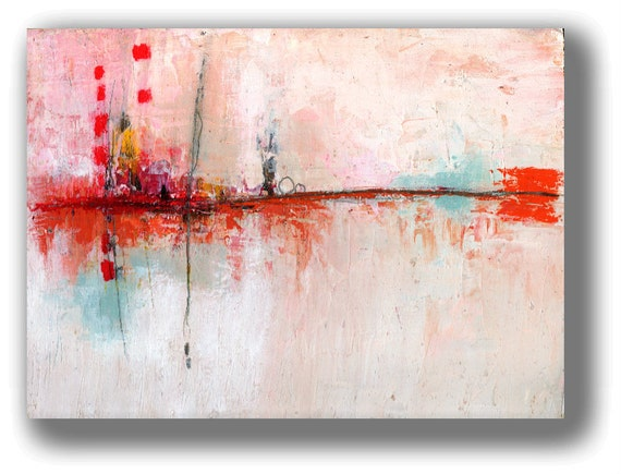 """Original Painting Landscape Fire Red Distant Horizon - 12 x 9 """"Generations"""" by Christina Romeo"""