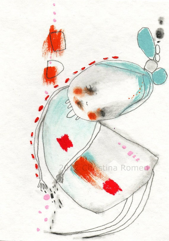 """Original Watercolor Illustration Red Blue Simple Embroidery - """"Angel""""  by Christina Romeo"""