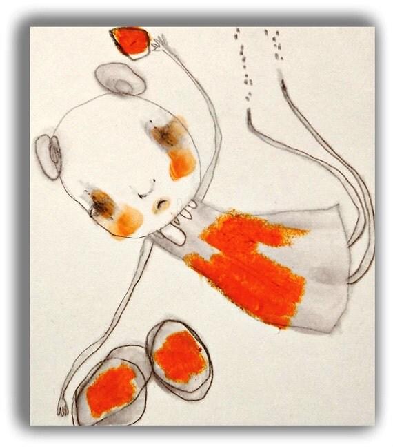 "Original Illustration Painting Sad Emotional Watercolor Raw Art - ""Island Heart""  by Christina Romeo"