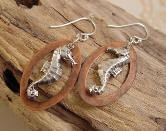 Silver Seahorse Dangles