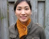 Lacey Scarf in Sienna Orange with Birch Wood Button, Hand Knit