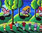 Red Rover Kids Fun Folk Art Green Canvas Original Painting Renie Britenbucher