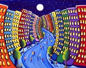 Cityscape Fun Funky City NYC Whimsical Folk Art Original Colorful Painting Free Ship