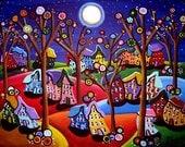 Fun Colorful Trees Houses Moon Whimsical Folk Art Original Painting