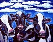 Cows Whimsical Folk Art Painting