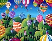 Hot Air Balloons Whimsical Colorful Original Folk Art Painting