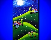 Kids Children Dog Catching Fireflies Whimsical Folk Art Original Painting