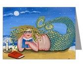 Nerd Mermaid Whimsical Fun Folk Art Blank Greeting Cards Pk of 10
