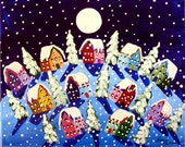 Peace on Earth Silent Night Winter Snow Moon Painting Whimsical Original Folk Art