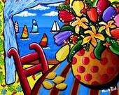 Colorful Tulips Still Life Sailboats Whimsical Folk Art Original Painting