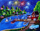 Fireworks 4th July Sailboats Car Colorful Whimsical Original Folk Art PAINTING Canvas renie