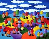 Colorful Landscape Houses Whimsical Folk Art  Original Painting