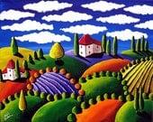 Colorful Whimsical Tuscan Tuscany Landscape Folk Art Painting Original renie