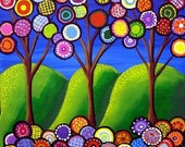 Whimsical Trees Blossoms Fun Colorful Folk Art Giclee Print