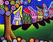 Whimsical Colorful Trees Blossoms Houses Folk Art Giclee PRINT