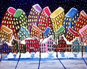 City Neighborhood Winter Cityscape Whimsical Colorful Original Folk Art Painting
