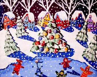 KIDS SKATE CHRISTMAS TREE SNOW  Folk Art Painting