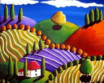Whimsical Tuscan Colorful Landscape Folk Art Painting