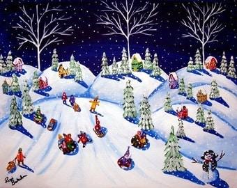 Kids Sled Riding Down Devil's Run Winter Snow Whimsical Folk Art Giclee PRINT
