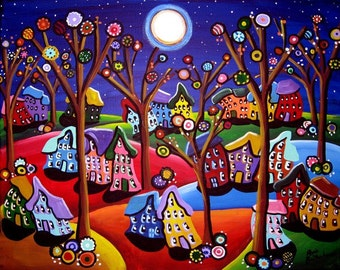 Fun Colorful Trees Houses Moon Whimsical Folk Art Original Painting