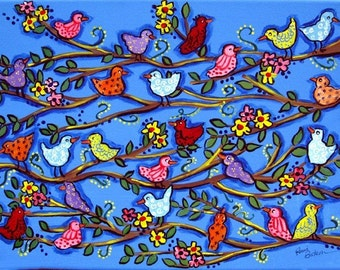 Spring Birdies and Blossoms Fun Colorful Whimsical Folk Art Giclee Print