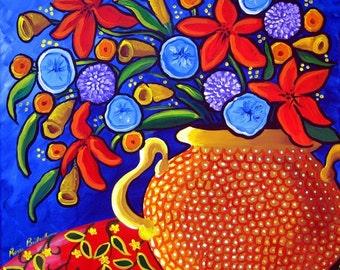 Colorful Spring Flowers Floral Vase  Folk Art Original Art Painting