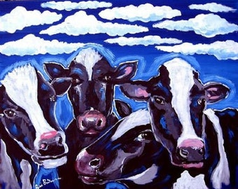Cows Whimsical Folk Art Painting