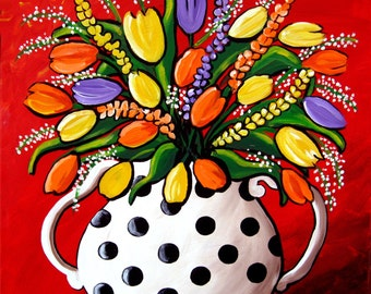 Tulips and Spring Flowers Whimsical Colorful Folk Art Giclee Print