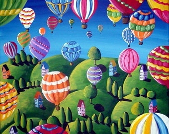 Hot Air Balloons Whimsical Colorful Original Folk Art Painting