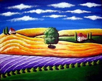 Golden Tuscan Landscape Folk Art Colorful Whimsical Giclee PRINT