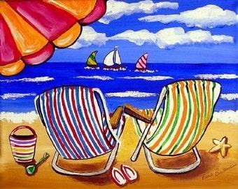 Colorful Beach Chairs Fun Whimsical Folk Art Giclee Print