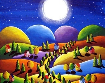 Peace On Earth Folk Art Landscape Painting Colorful Original