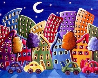 Fun Funky City Neighborhood Cityscape Colorful Whimsical Folk Art Original Painting