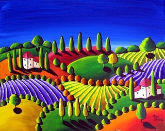 Colorful Whimsical Tuscan Folk Art Landscape Painting Original Whimsical