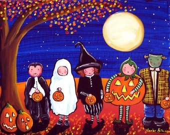Trick or Treaters Kids Halloween Whimsical Fall Fun Folk Art Painting