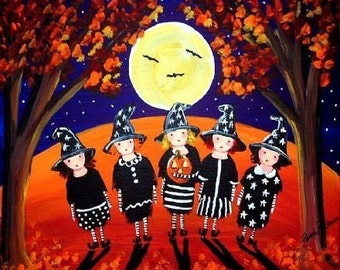 Five Little Witches Whimsical Folk Art Halloween Fun Giclee Print