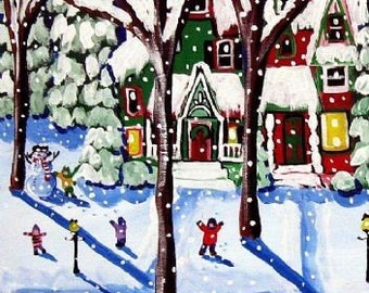 Remnants of a Snow Day Whimsical Winter Folk Art Giclee Print