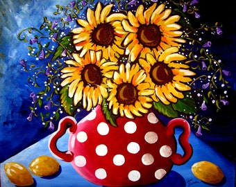 Sunflowers and Red Polka DotsColorful  Giclee PRINT Whimsical Folk Art
