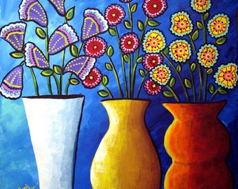 3 Fun Funky  Flowers Vases Floral Fun Colorful Whimsical  Folk Art Painting